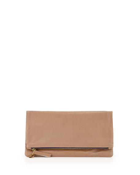 Leather Fold-Over Clutch Bag, Beige