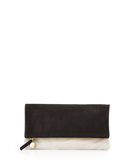 Two-Tone Fold-Over Clutch Bag, Black Pattern