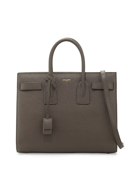 20507ef82a3 Saint Laurent Sac de Jour Small Grained Leather Tote Bag, Gray