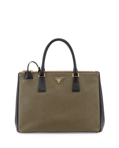 34fb4e5fdfe0 Prada Saffiano Lux Bicolor Double-Zip Tote Bag