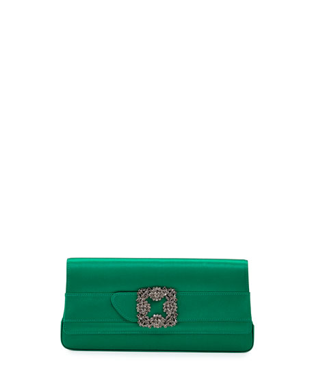 83a70332cff43 Manolo Blahnik Gothisi Crystal-Buckle Satin Clutch Bag, Green