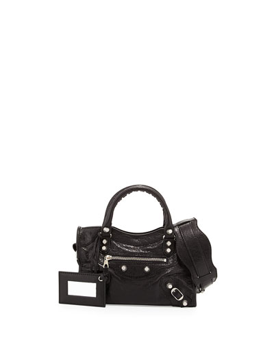 Rivet-Studded Mini City Shoulder Bag, Black