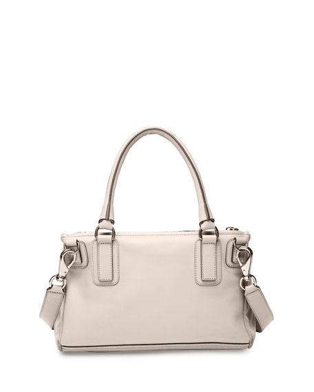 Pandora Medium Stamped Crocodile Shoulder Bag, Off White