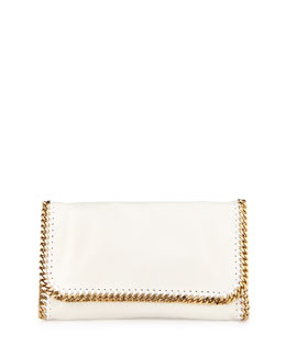 Falabella Faux-Leather Chain Clutch Bag, White