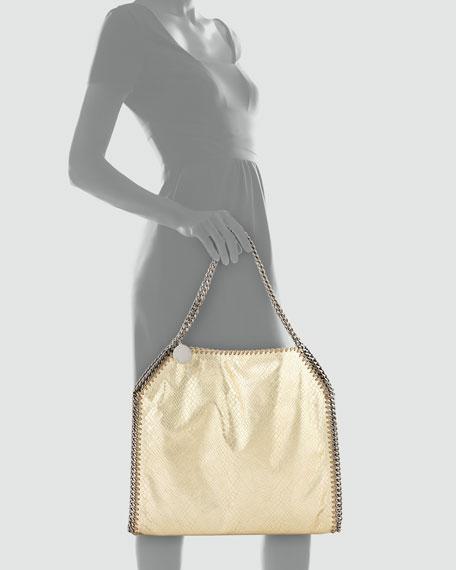 Falabella Small Python-Print Tote Bag, Gold