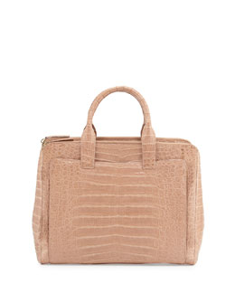 Large Crocodile Tote Bag, Neutral