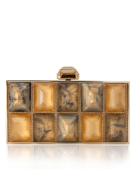 Piedras Perfect Rectangle Jeweled Clutch, Champagne