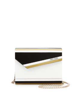 Candy Striped Acrylic Crossbody Bag, Black/White