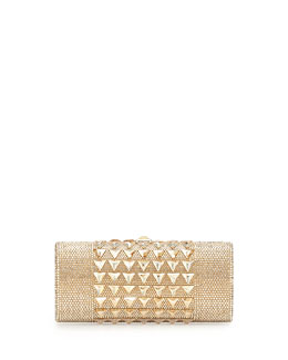 Pyramid Crystal Cylinder Clutch Bag, Champagne
