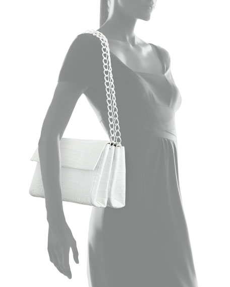 Medium Crocodile Double-Chain Shoulder Bag, White