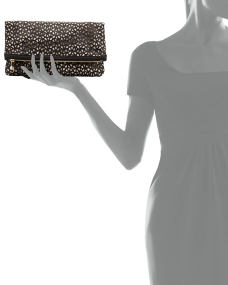 Laser-Cut Leather Fold-Over Clutch, Black/Cream