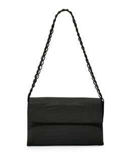 Medium Crocodile Double-Chain Shoulder Bag, Black