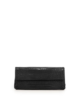 Back-Pocket Crocodile Clutch Bag, Black