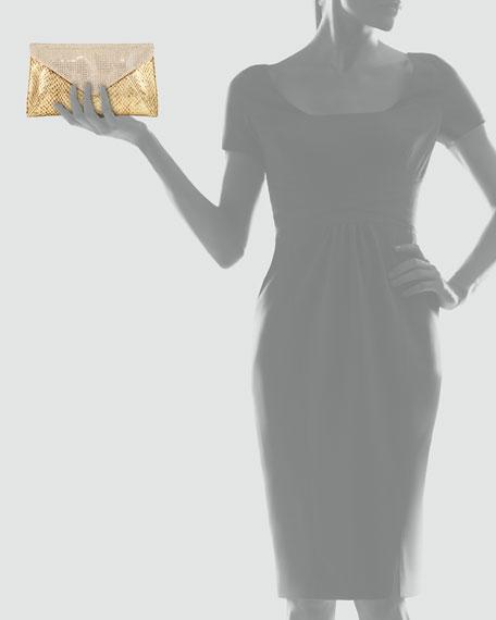 Samantha Metallic Snakeskin Crystal Clutch, Champagne