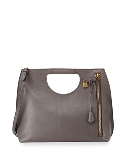 Alix Zip & Padlock Shopper Tote Bag, Gray