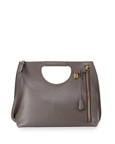 Alix Zip & Padlock Shopper Tote Bag, Gray