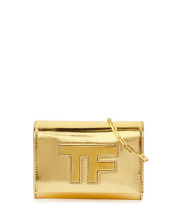 Mirror Leather Crossbody Clutch Bag, Gold
