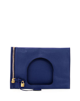 Alix Medium Padlock & Zip Shoulder Bag, Cobalt