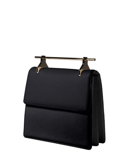 La Collectionneuse Leather Satchel Bag, Black