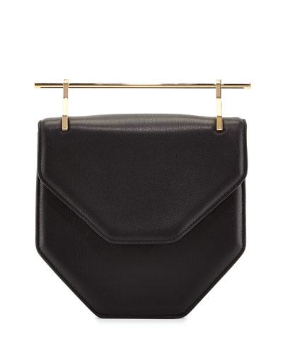 Amor Fati Leather Satchel Bag, Black