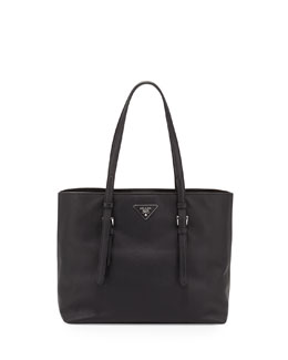Saffiano Leather Shopper Tote Bag, Black (Nero)