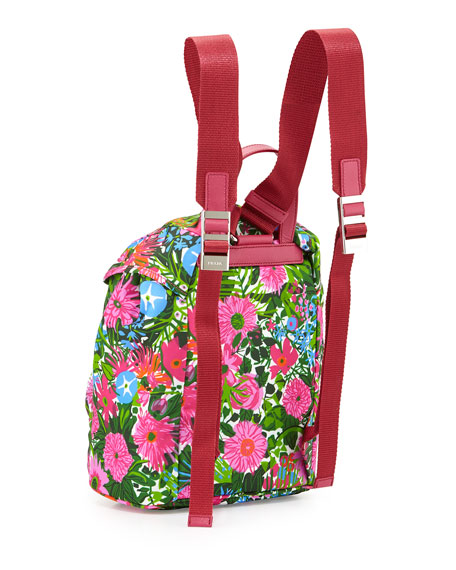 0a48c547c028 Prada Nylon Small Floral-Print Backpack, Pink (Fuoco)