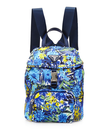 Prada Nylon Small Floral-Print Backpack, Blue