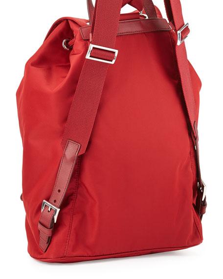 Prada Vela Large Drawstring Backpack, Red (Fuoco)