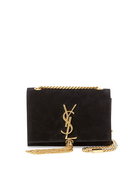Monogram Suede Tassel Clutch Bag, Black