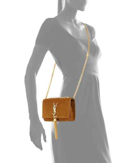 Monogram Small Suede Tassel Crossbody Bag, Light Ocre