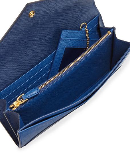 43839c4524f9 Prada Saffiano Bicolor Letter Wallet, Blue/Navy (Bluette/Azzurro)
