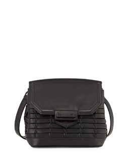 Marion Woven Leather Satchel Bag, Black