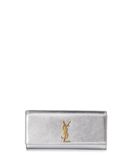 Monogramme Metallic Logo Clutch Bag, Silver