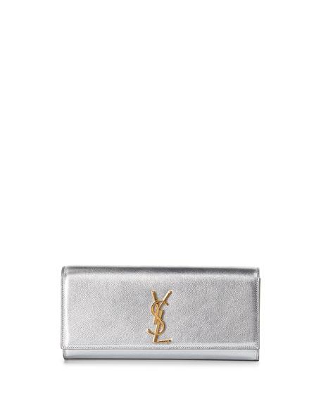 Monogram Metallic Logo Clutch Bag, Silver