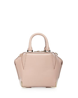 Emile Mini Structured Leather Satchel Bag, Petal