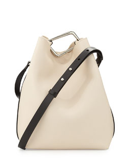Quill Mini Bicolor Bucket Bag, Powder