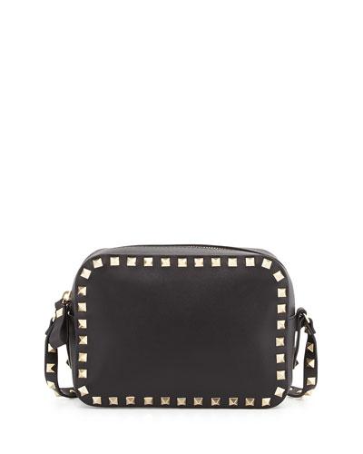 Rockstud Leather Camera Bag, Black