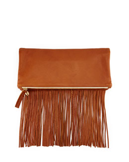Leather Fold-Over Fringe Clutch Bag, Tan