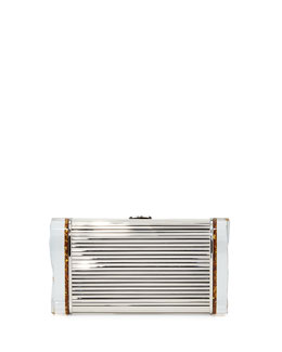 Lara Metal and Resin Minaudiere, Golden