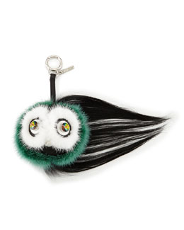 Monster Fur Keychain w/Beak, Orange Multi