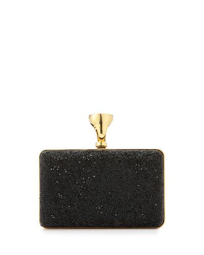 Micro-Crystal Ring-Lock Box Clutch Bag
