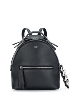Mini Crystal Croc-Tail Backpack, Black