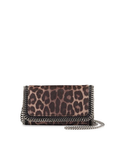 Leopard-Print Faux-Fur Crossbody Bag, Taupe