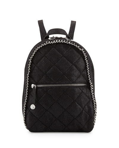 Falabella Mini Quilted Backpack, Black
