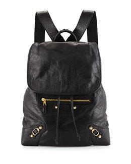Giant Lambskin Traveler Backpack, Black