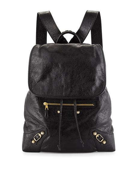 Giant Lambskin Traveler Backpack, Black