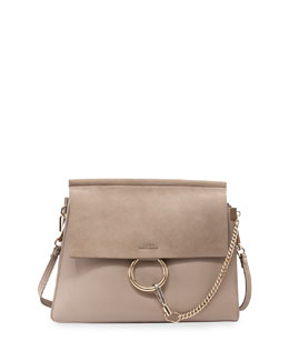 Faye Medium Leather/Suede Bag, Gray