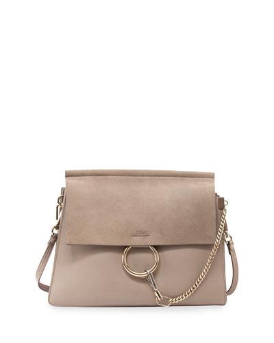 Faye Medium Leather/Suede Bag, Gray