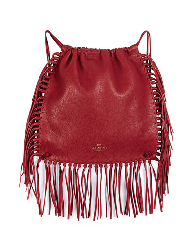 C-Rockee Fringed Leather Backpack