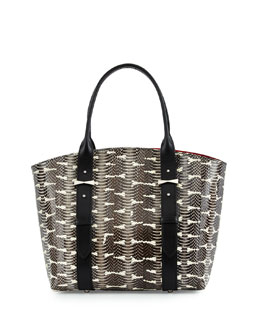 Legend Small Snakeskin Shopper Tote Bag, Black/White
